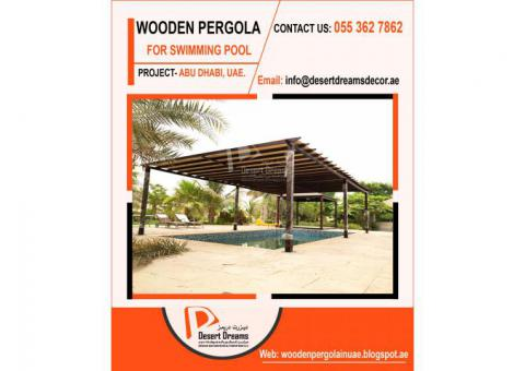 Wooden Flooring Pergola Dubai | Swimming Pool Area Pergola Uae | Barbecue Pergola Uae.