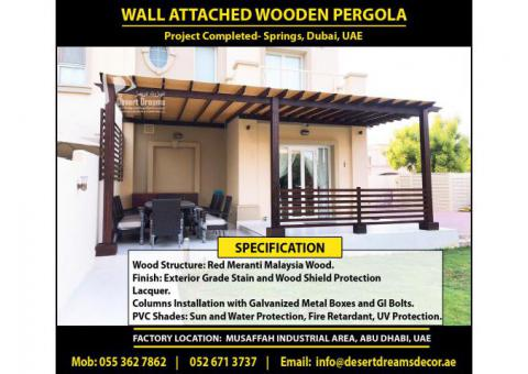 Wall Attached Pergola Dubai   Hardwood Pergola Uae   Soft Wood Pergola Uae   Villas Pergola Uae.