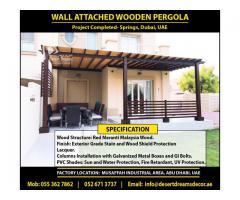 Wall Attached Pergola Dubai | Hardwood Pergola Uae | Soft Wood Pergola Uae | Villas Pergola Uae.