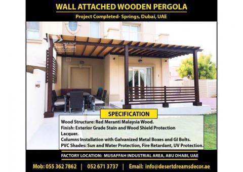 Wall Attached Pergola Uae   Seating Area Pergola   Meranti Wood Pergola   Teak Wood Pergola Uae.