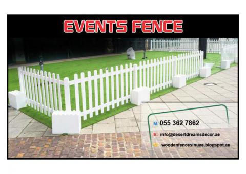 Outdoor Wooden Fence Uae | White Picket fence | Swimming Pool Privacy Fence Uae.