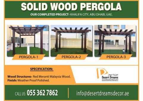 Solid Wood Pergola in UAE   Hardwood Pergola   Landscape Pergola Design Uae.