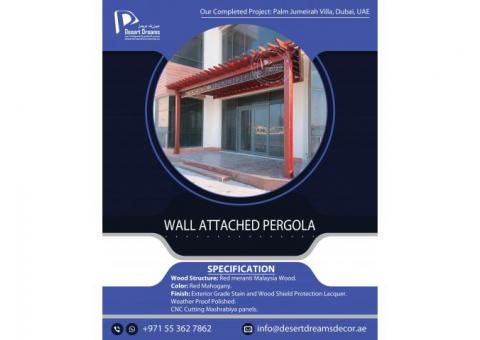 Wall Attached Wooden Pergola Dubai | Wooden Pergola palm Jumeirah | Outdoor Pergola Uae.