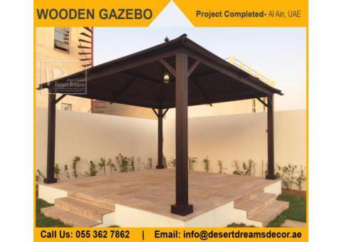 Wooden Roofing Gazebo in Dubai | Hexagon Gazebo | Octagon Shape Gazebo Uae.