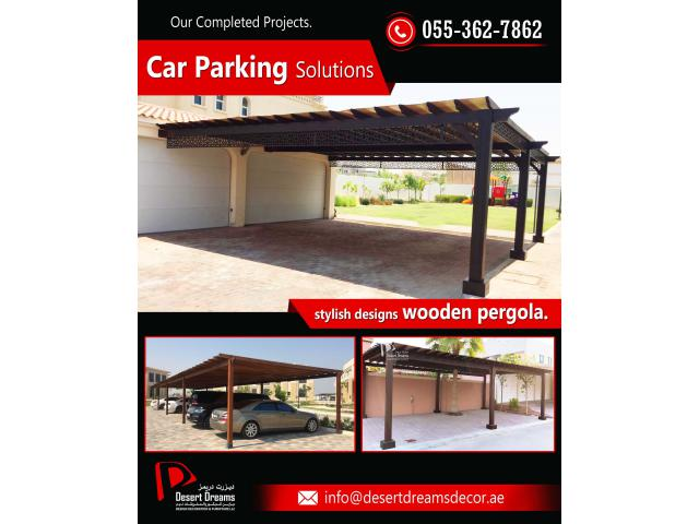 Design and Build Car Parking Wooden Pergola with Best Priced in UAE.