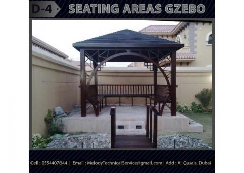Seating Area Wooden Gazebo | Gazebo Suppliers in Dubai | Garden Gazebo UAE