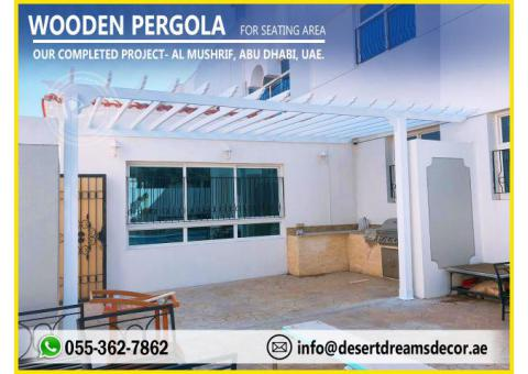 White Pergola Design | Seating Area Pergola | Backyard Pergola Uae.