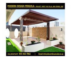 Seating Area Wooden Pergola | Glass Covered Pergola | Garden Pergola Uae.