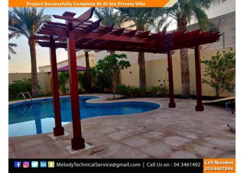 Swimming Pool Covered Pergola Dubai  | Garden Pergola | Wooden Pergola in Dubai