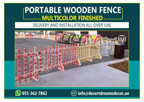 Portable Wooden Fence | White Picket Fence | Natural Wood Fence Uae.