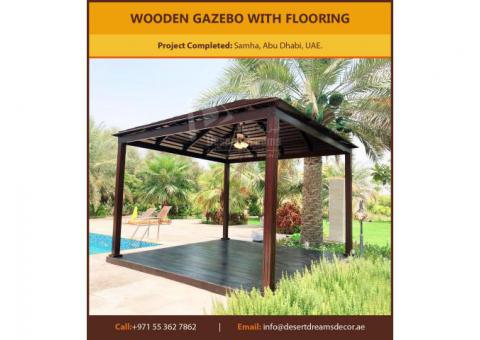 White Wood Gazebo | Red Meranti Wood Gazebo Uae.