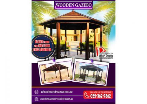 Outdoor Gazebo | Supply and Installation of Wooden Gazebo in Abu Dhabi.