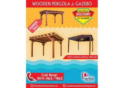 Wooden Structure Manufacturer in UAE | Restaurant Pergola | Seating Area Pergola | UAE.