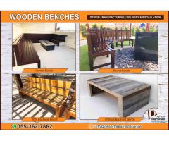 Outdoor Wooden Furniture Manufacturer in Uae | Wooden Benches and Planters in UAE.