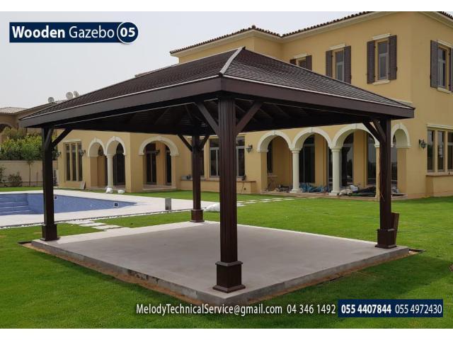 Clay Stone Roof Gazebo Dubai | Wooden roof Gazebo Suppliers in Dubai