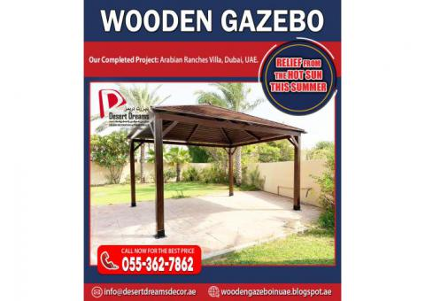 Sitting Area Wooden Gazebo in Uae | Wooden Gazebo Arabian Ranches, Dubai, UAE.