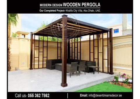 Sun Shades Wooden Pergola Suppliers in Uae | Seating Area Pergola in Uae.