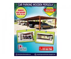 Car Parking Wooden Pergola in Abu Dhabi, UAE | Large Area Parking Shades Uae.