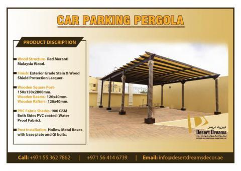 Dubai Villa Car Parking Wooden Pergola in Uae | Special Discount Offer in This Summer.
