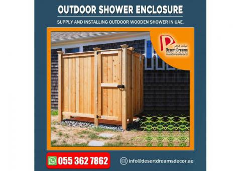 Outdoor Wooden Shower in Uae | Outdoor Wooden Room Manufacturer.
