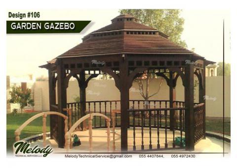 Wooden Roof Gazebo | Gazebo Suppliers in Abu Dhabi | Garden Gazebo UAE