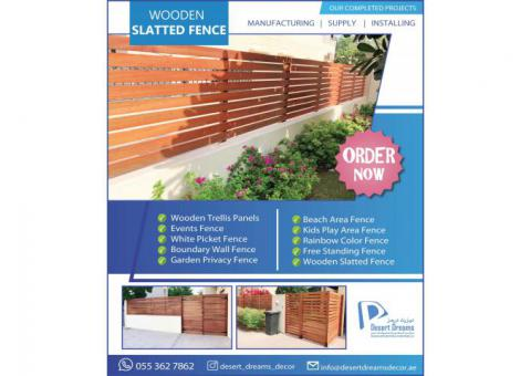 Free Standing Fences Uae | Natural Wood Finish Fences | White Picket Fences.