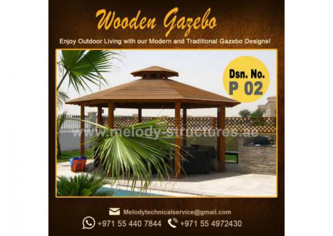 Wooden Gazebo in Khalifa City | Octagonal Gazebo | Claystone Gazebo | Gazebo Suppliers over all UAE