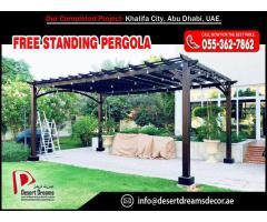 Supply and Install Meranti Wood Pergola, Teak Wood Pergola and White Wood Pergola in UAE.