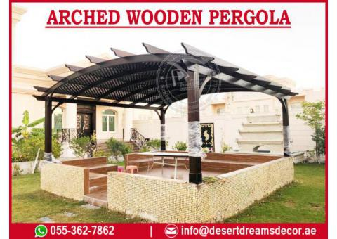 Triangular Shape Pergola Uae | Restaurant Pergola | Arched Pergola Uae.