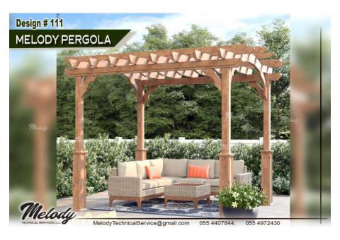 Wooden Pergola in Dubai | Pergola in Arabian Ranches | Seating Area Pergola Suppliers