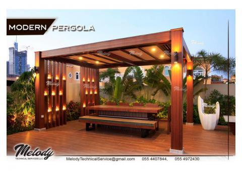 Pergola in Abu Dhabi | Wooden Pergola in Khalifa City | Seating Area Pergola Suppliers in UAE