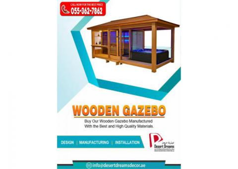 Seating Area Wooden Gazebo in Uae | Wooden Gazebo in Abu Dhabi.