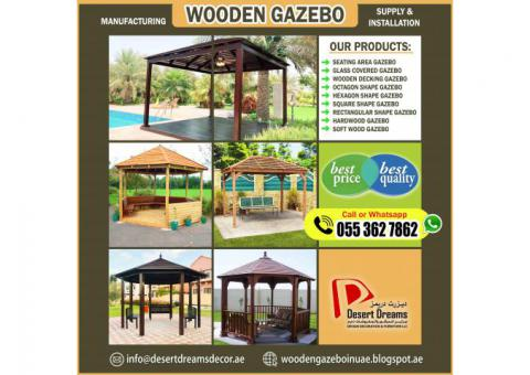 Round Shape Wooden Gazebo in Abu Dhabi | Outdoor Gazebo | Garden Gazebo | UAE.