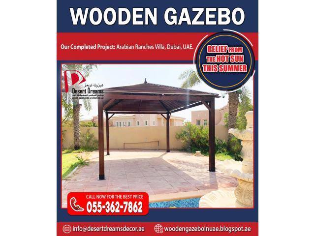 Wooden Roofing Gazebo in Abu Dhabi | Wooden Gazebo Al Ain | Octagon Gazebo.