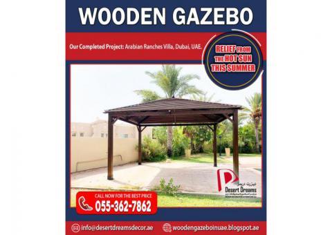 Seating Area Wooden Gazebo | Garden Gazebos | Supply and Install Gazebo Uae.