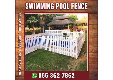 White Color Fences | Natural Wood Fences | Garden Fencing Works Uae.