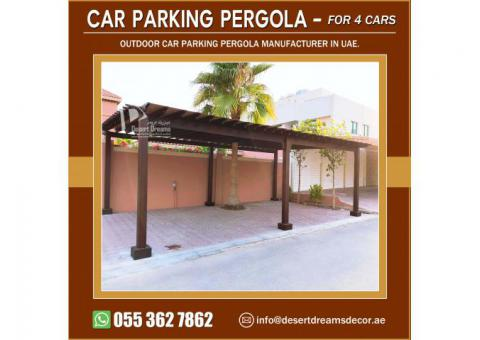 Wooden Car Parking Pergola in Abu Dhabi | Autocad Drawing | One Car Park | Two Cars Park.