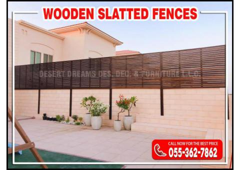 Neighbour Privacy Wooden Fences Abu Dhabi | Supply and Installation | Wall Mounted Fences.