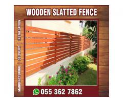 Wooden Slats Panels for Neighbour Privacy | Wooden Fences on Wall | Abu Dhabi | Al Ain.