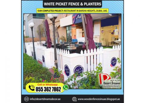 Wooden Fences with Wooden Planters | Restaurant Seating Area Privacy | Abu Dhabi | Dubai.