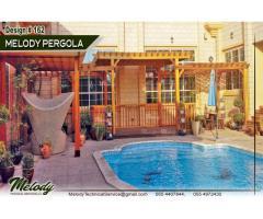 Summer Pergola UAE   Wooden Pergola Near Swimming Pool   Pergola Suppliers Abu Dhabi