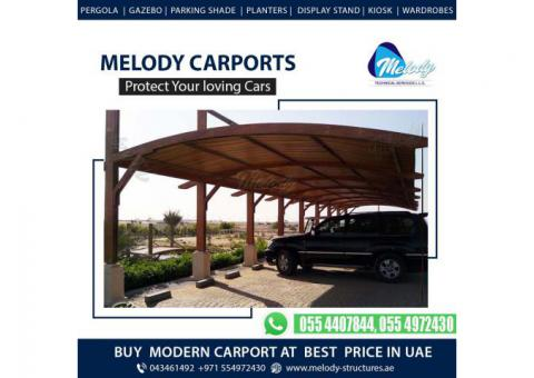 Carport Pergola Design in Dubai | Car parking Shade | WPC Car Parking Shades in Dubai