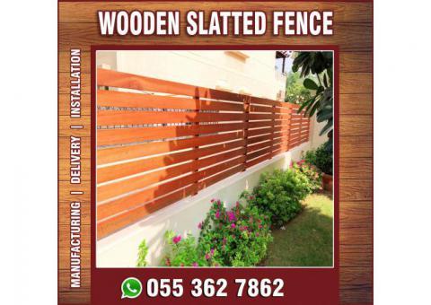 Wall Mounted Fence in Abu Dhabi | Wooden Slatted Fences | Timber Fence Abu Dhabi | Al Ain.