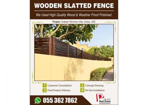 Wooden Slatted Fence Dubai   Arabian Ranches   Abu Dhabi   UAE.