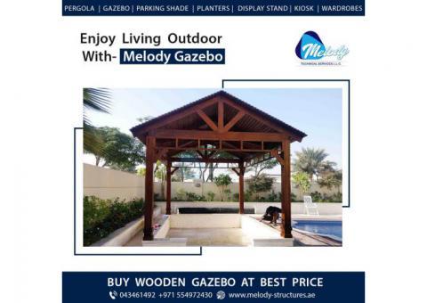 Wooden Roof Gazebo | Gable Roof Gazebo | Gazebo Suppliers in Dubai