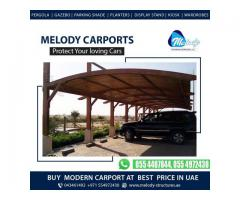 WPC And Steel Carports Suppliers in Dubai   Buy Wooden Car parking Shades in Dubai