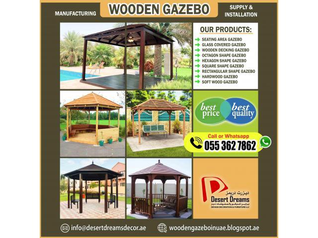 Wooden Gazebo in Khalifa City Villas | Abu Dhabi | Wooden Gazebo in Dubai.