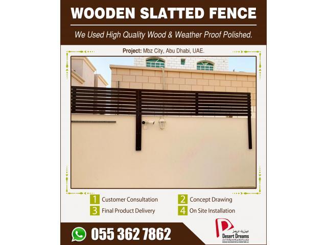 Wall Mounted Fences Arabian Ranches Villas   Wooden Slatted Fences Uae.