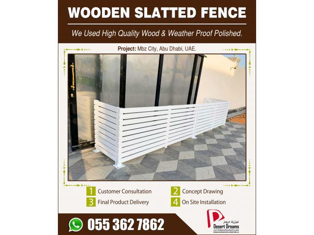 Wooden Slatted Fences in Dubai   Outdoor Fences   Wall Mounted Fences Uae.