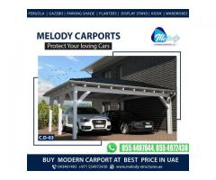 Aluminum & Wooden Car parking Shades | Car parking Shades Suppliers in UAE